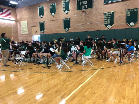 The GH band plays as students enter the gym