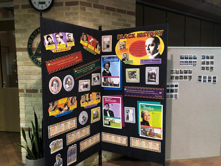 The Middle School displays posters celebrating Black History Month in February.