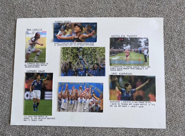Sophomore Kendall Hashimoto ended school in the midst of her track season, so to keep her motivated she made a poster of athletes that inspire her.