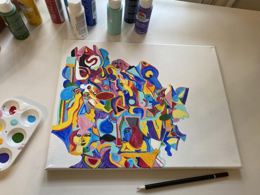 Kim also has begun to paint more, this being one of her works in progress.