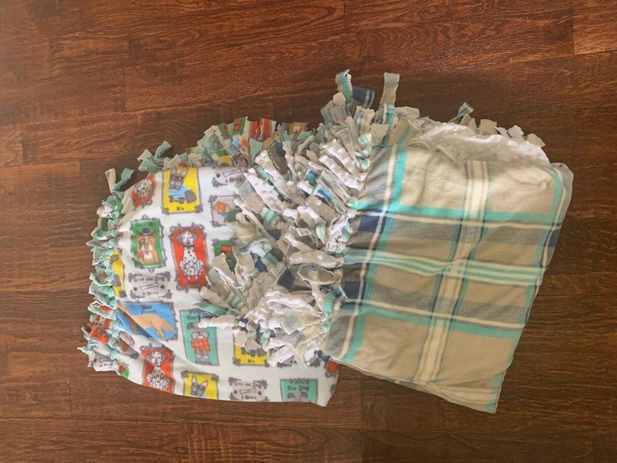 Sophomore Jasmine Najari made felt tie blankets for a homeless shelter.