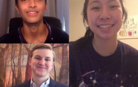 The three candidates who won the elections for Student Council on their video speeches.
