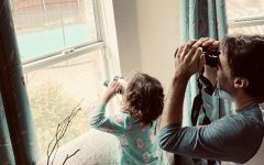 Giorgio birdwatching with his daughter from home.