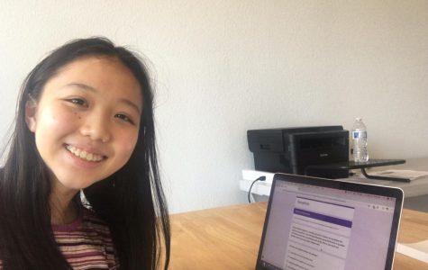 Sophomore Emily Ding Takes the Pentathlon test.