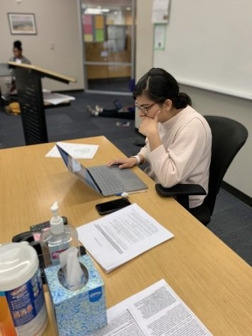 Sidrah Khan at her desk before class during her world history or US history classes.