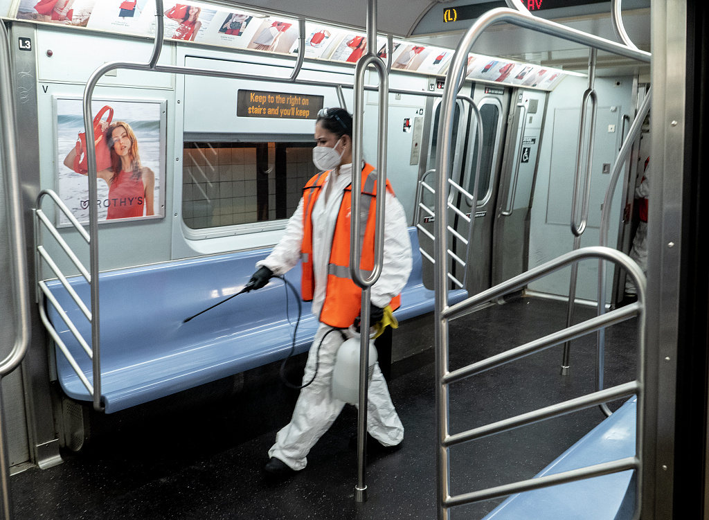 A subway car being disinfected during Covid-19. People have been asked to social distance to minimize the spread of Covid-19.