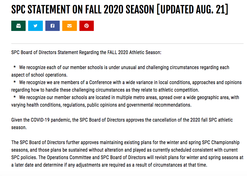 Letter from the SPC regarding the fall season.