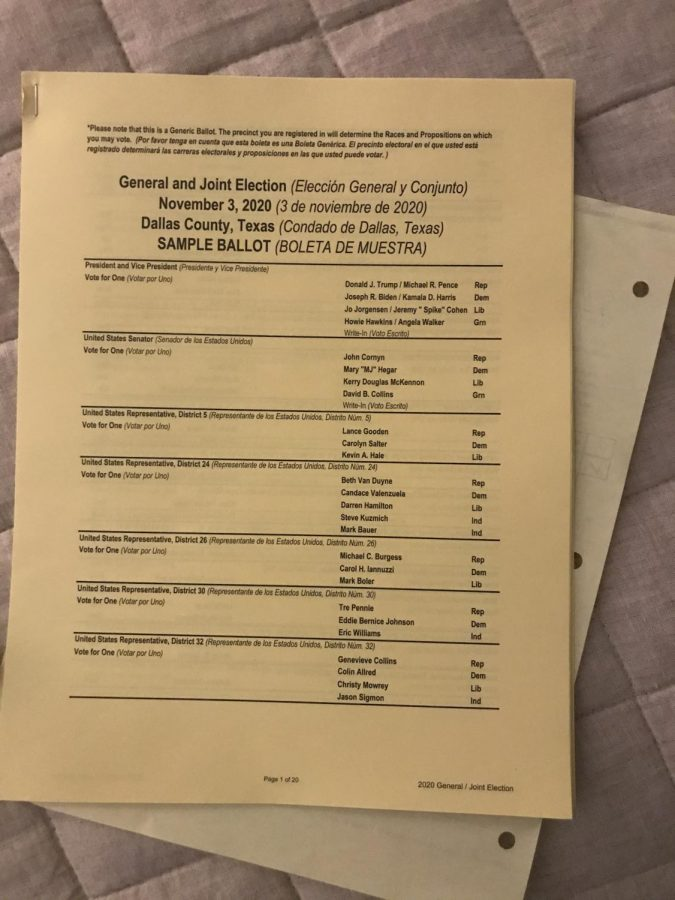 Sample ballot given to Jonah Yaffe, a junior who volunteered as a poll worker.