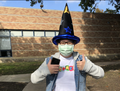 An Upper School student celebrates Crazy Hat day as part of the ongoing Spirit Week festivities that kicked off on Wednesday (Nov. 4).