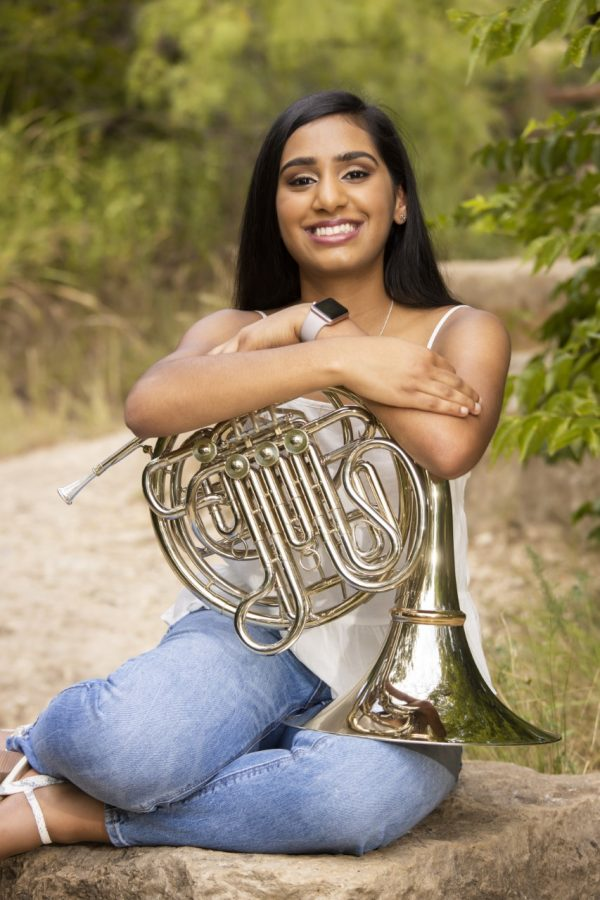 Senior Anagha Gouru, who plays the french horn for the Greenhill Band, is a returning member of the All-State Band this year.