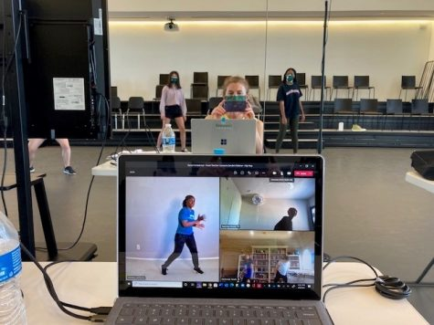 "Students participate in the ""Dancing Virtually on the Hill"" event physically at Greenhill and through a Microsoft Teams call."