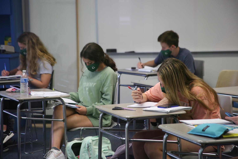 Upper School students in geometry class.