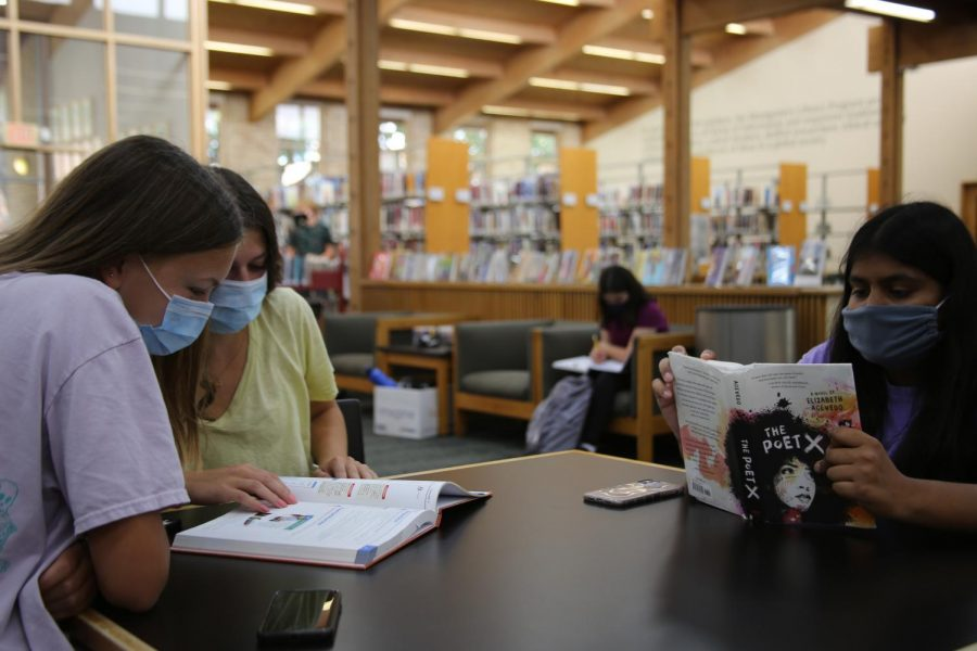Upper School students reading and doing homework in the Montgomery Library.